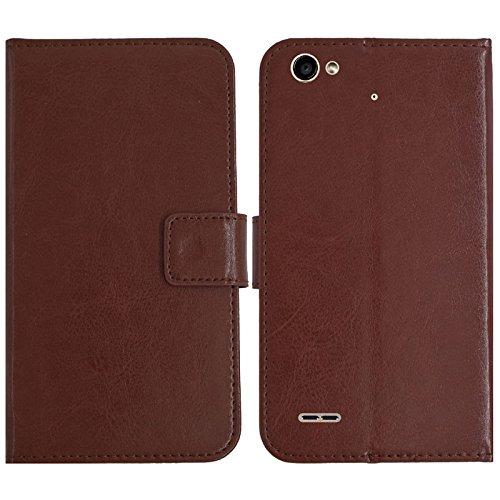 TienJueShi Brown Flip Book-Style Brief Leder Tasche Schutz Hulle Handy Case Abdeckung Silikon Wallet Cover Etui Skin Fur Medion Life E5006 / P5006 MD 60227 5 inch Brown Handy Case
