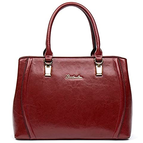 BOSTANTEN Damen Leder Schultertasche Shopper Handtasche Top Griff Umhängetasche Tote Bag Rot
