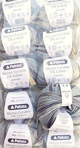 Wollpaket Merino 500g, 10x50g Patons Merino extrafine dk color, Fb. 485, reine Merinowolle zum Stricken und Häkeln, Wollpakete Sonderposten