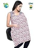 #6: Feather Hug Nursing Cover for Breastfeeding Mother, Women, Mom, Multi Use, Feeding Apron Cloak,Poncho, Scarf, ups, Wrap, Breathable, Canopy, Babysitting, Maternity, Kurti, Shawl, Poplin (Red Floral)