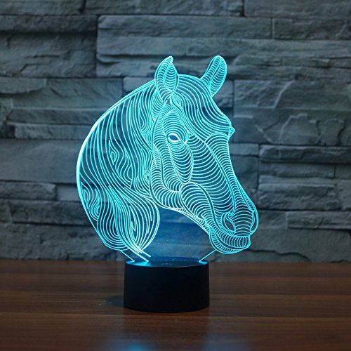 Restaurant Sockel Tisch (3D Nacht Lampe LED Neuheit Tier 7 Farbe ändern Tisch Lampe spielzeug Geschenk pferd)