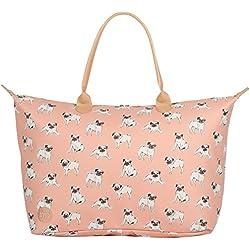 Mi-Pac Weekender Bag Bolsa de Cuerdas para El Gimnasio, 55 cm, 35 Litros, Pugs Peach