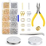 FEPITO Jewelry Making Kit Broches de langosta de oro y plata Abra los anillos de salto abierto y Kit de resultados de joyas pin con alicates