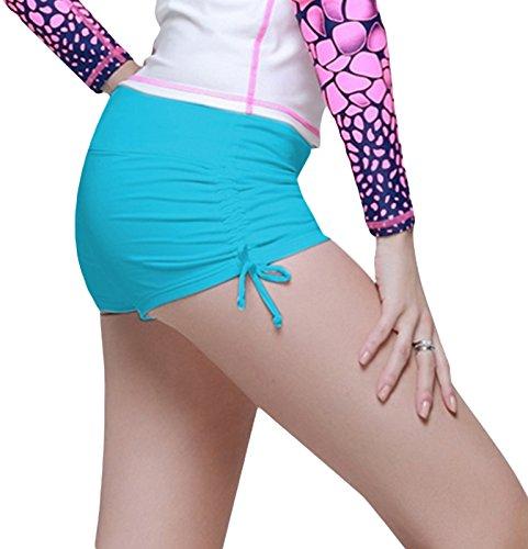 Damen Badeshorts Bikinihose Hotpants Sportbikini Schwimmshorts Bunte Farben Blau