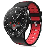 Montre Intelligente étanche IP67, HopoFit HF06 Écran Tactile Complet de Cercle Sport Bracelet avec Cardiofréquencemètre,Podomètre,Sommeil,Notification Téléphonique, pour Android iOS Homme Femme (Red)