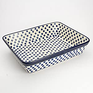 Polish Pottery Medium Lasagne Dish – Small Blue Dot – 28 x 23cm