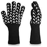 Navaris Heat Resistant Grill Gloves - BBQ Grilling Gloves Kitchen Oven Mitts
