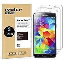 [3 Unidades] Samsung Galaxy S5 y S5 Neo Protector de Pantalla, iVoler Protector de Pantalla de Vidrio Templado Cristal Protector para Samsung Galaxy S5 y S5 Neo -Dureza de Grado 9H, Espesor 0,30 mm, 2.5D Round Edge-[Ultra-trasparente] [Anti-golpe] [Ajuste Perfecto] [No hay Burbujas]- Garantía Incondicional de 18 Meses