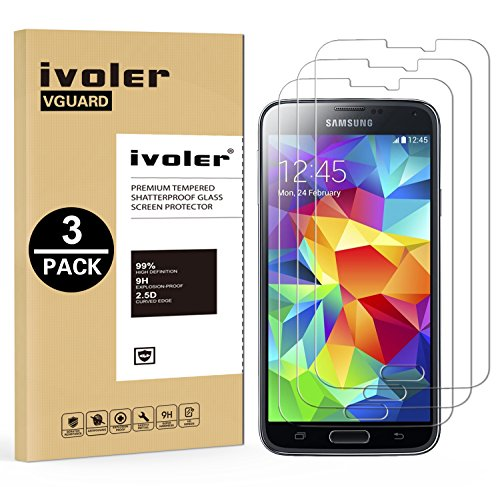 [3 Unidades] Samsung Galaxy S5 y S5 Neo Protector de Pantalla, iVoler Protector de Pantalla de Vidrio Templado Cristal Protector para Samsung Galaxy S5 y S5 Neo  Dureza de Grado 9H, Espesor 0,30 mm, 2.5D Round Edge [Ultra trasparente] [Anti golpe] [Ajuste Perfecto] [No hay Burbujas]  Garantía Incondicional de 18 Meses