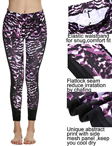 Ekouaer Damen-Mesh-Leggings für Yoga/Fitnessstudio/Sport/Laufen, mit Zebramuster Violett