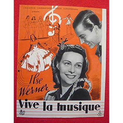 Dossier de presse de Vive la musique (1942) - 24x31 cm, 4 p – Film de Helmut Kautner avec Ilse Werner, Victor de Kowa – Photos N&B - résumé scénario
