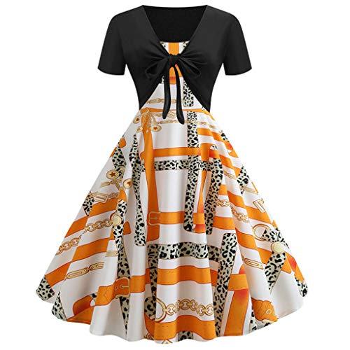 Damen Vintage Print Kurzarm Kleid Sling Pullover Zweiteilige Set Kleider (Orange, S) ()