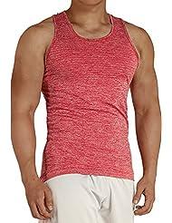 KomPrexx Camiseta Sin Mangas Deporte Hombre Camisetas de Tirante - Ejercicio - 4 Color verdor/rojo/blanco/gris