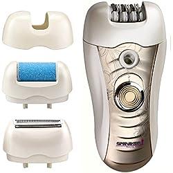 Sminiker 3 En 1 Kit de Depilación Recargable a Prueba de Agua para Señora (Bikini Trimmer, Epilator del pelo, Removedor de Callos) con 2 Modos de Conmutador de Encendido, LED Afeitador para Brazo, Axila, Línea de bikiní& Piernas
