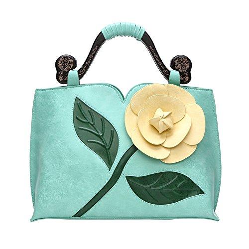 Wtus Ladies Classic Vintage Rose Tridimensionale Big Flower Bag Hit Colore Legno Portatile Borse A Spalla Messenger Carve Bagoon Light Blue