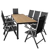 9er Set Gartenmöbel Aluminium Gartentisch mit Polywood Tischplatte 205x90cm + 8x klappbare Hochlehner mit 2x2 Textilengewebe, Rückenlehne 7-fach verstellbar