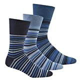 Pierre Roche Comfort Fit Non-Elastic Top Socks 6-11 3 Pack Blue Mix