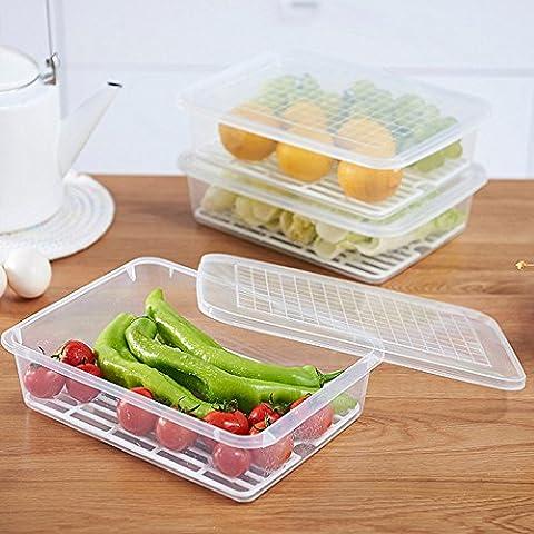 Aufbewahrungsbox Container für Kühlschrank Speicher, Morbuy 1PC Küche Organiser mit Deckel aus Kunststoff Die Praktische Vorratsdose Idealer für Gemüse, Obst, Nüsse und andere Lebensmittel