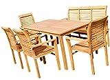 Teak Set Gartengarnitur Gartenset Gartenmöbel 1x Tisch 150x80 1x Bank für 3Personen 4x Sessel ALPEN von AS-S