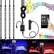Coche LED tira luz, surom 4pcs 72LED multicolor música coche luces interiores en Dash Kit de iluminación resistente al agua con sonido función activa y control remoto inalámbrico, incluye cargador para coche, DC 12V