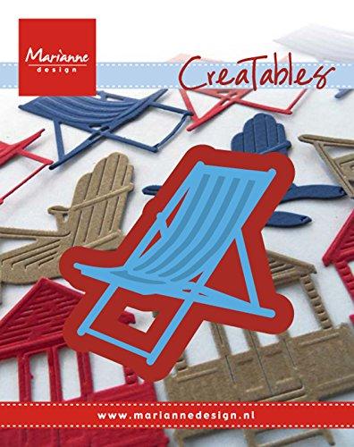 Marianne Design LR0423 Creatables Liegestuhl - Stanzschablone und Prägeschablone für die Kartengestaltung/Scrapbooking, Metal, blau, 5.5 x 5.5 x 0.4 cm (Frau Liegestuhl In)