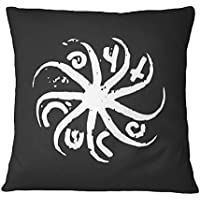 LaMAGLIERIA Cojín Decorativo The Cure Circular Logo White Print - Almohada de algodón Decorative Pillow, 40cmx40cm, Negro