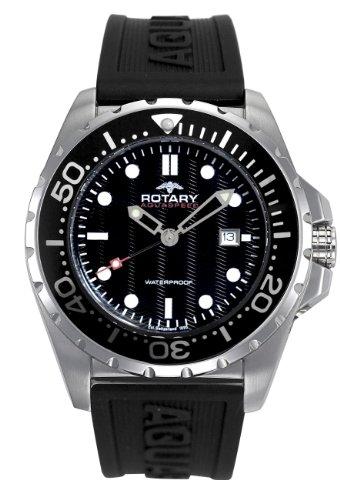 Rotary - AGS00013/W/04 - Montre Mixte - Quartz - Analogique - Bracelet Caoutchouc noir