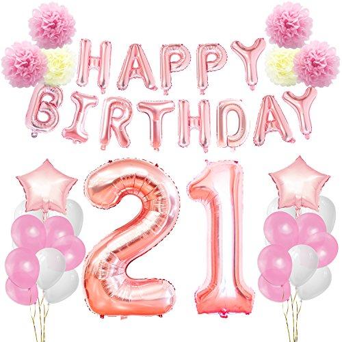 (KUNGYO Zum 21 Geburtstag Party Dekorationen Kit Rose Gold Happy Birthday Banner-Riesen Zahl 21 und Sterne Helium Folienballons Bänder Papier Pom Blumen Latex Ballon Alles Gute Zum Geburtstag)