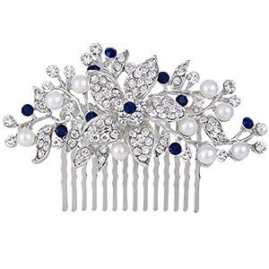 Ever Faith Hochzeit-Haarkamm, Kristall, mit Kunstperlen und Spitzenblumen, Elfenbeinfarben/Silberfarben