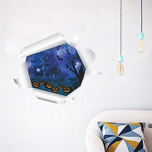 Kürbis Laterne Fliegende Fledermaus Wandaufkleber Wohnzimmer 3d Effekt Wandtattoo Kunst Poster Dekoration ()