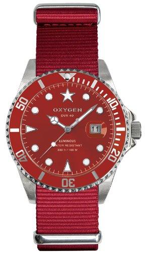 Oxygen EX-D-SHA-40-RE - Reloj analógico de cuarzo unisex, correa de nailon color rojo (agujas luminiscentes)