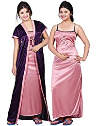 TRUNDZ Women's Satin Full Length Night Gown, Free Size (Purple and Pink, 535)