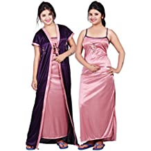TRUNDZ Women's Satin Full Length Nighty (NFABNTY535_D,Purple and Pink,Free Size) - Pack of 2