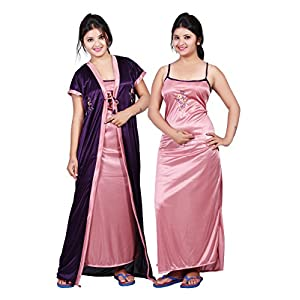 TRUNDZ Women's Satin Full Length Nighty (NFABNTY535_D,Purple and Pink,Free Size) – Pack of 2