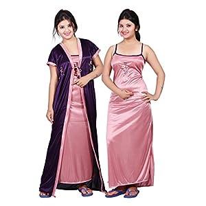 TRUNDZ Fancy Satin Nighty Full Length | Night Wear| Sleep Wear For Women |Night Gown For Women-Pack Of 2