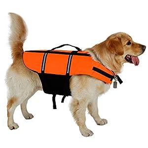 XUJW-PET Vestes de sauvetage pour grands chiens, grande veste de chien pour la natation, veste de natation de chien Veste de sécurité avec ceinture réglable, veste de manteau de chien étanche, 6 tailles