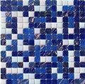 Mosaikfliese GOLDREGEN MOSAIK BLAU WEISS MIX GLASMOSAIK 1Matte von Mosaikpalast24 bei TapetenShop