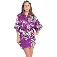 Aibrou Donna Vestaglie scollo a V Kimono da notte in raso Kimono Corto per Donna Pavone Esotici Raso Serico Fiore Kimono Accappatoio Spugna