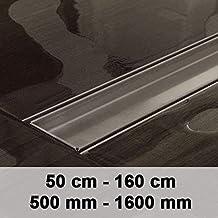 CLP Desagüe de la ducha DOUGLAS, canal de ducha de diseño moderno en acero inoxidable, incluido el sifón, hasta 9 tamaños para eligir 600mm / 60 cm