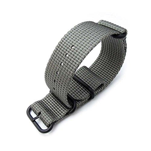 MiLTAT 26mm NATO Watch Band, dick Zulu Nylon für schwere Uhr, matt grau, PVD