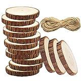 Meetory 20pz Unfinished Predrilled legno fette Log dischi senza fori ,33piedi rotonda naturale iuta spago per DIY Craft rustico matrimonio decorazione albero di Natale ornamenti