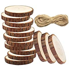 Idea Regalo - Meetory 20pz Unfinished Predrilled legno fette Log dischi senza fori ,33piedi rotonda naturale iuta spago per DIY Craft rustico matrimonio decorazione albero di Natale ornamenti