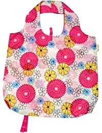 Pink And Yellow Floral : B.b.begonia Pocket Full Of Posies Reusable Shopping Bag, Pink And Yellow Floral