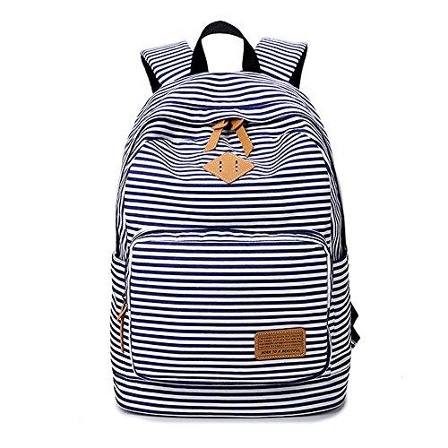 Imagen de minetom tela tejida lona backpack  escolares  escolar casual bolsa viaje moda mujer colorido rayas azul one size 29*17*45 cm