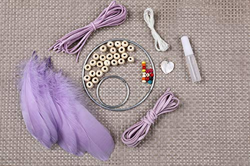 YIWAN Handmade Dream Catcher Wall decorationTeenage Heart Feather Traumfänger Sansei III Purple Material Pack