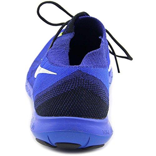 Nike Free 3.0 Flyknit, Chaussures de Running Compétition Homme, Taille Bleu / noir / blanc (noir / voile - bleu roi profond - bleu Racing)