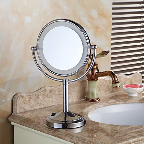 Luci specchio da trucco, specchi da bagno da 8 pollici a led da appoggio, specchio per trucco rivestito in rame, rotazione a 360 ° con batteria specchio cosmetico, per hotel / hotel / uso domestico