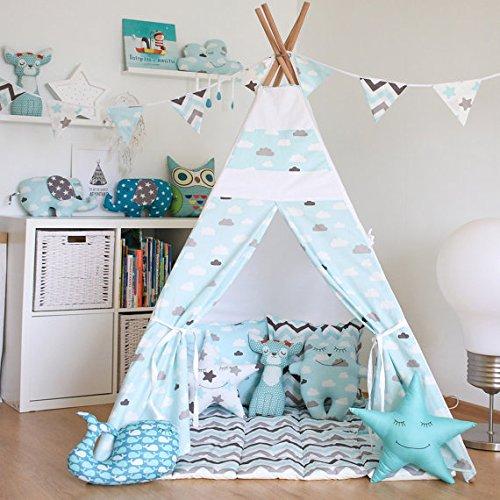 kids-teepee-tent-with-4-poles-and-floor-matplay-tentkids-teepee