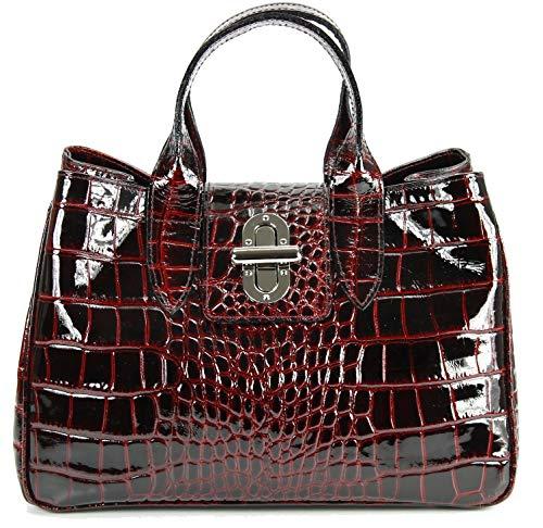 Belli Echt Leder Handtasche Damen Ledertasche Umhängetasche Henkeltasche in bordeaux lack Kroko Prägung - 36x25x18 cm (B x H x T)