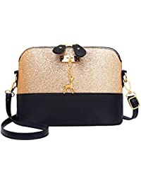 Tomtopp Shell Shoulder Handbag Women Sequin Lady PU Leather Crossbody Messenger Bag